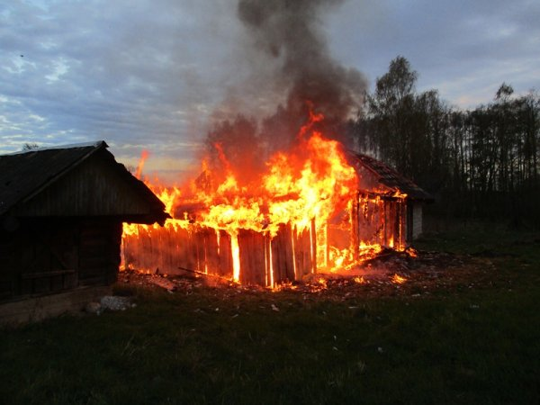 В Рогачевском районе в огне оказались сарай, баня и деревянный дом