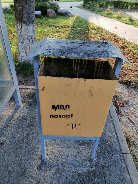 В Рогачёве по всему городу появились надписи «МВД – позор!» - фотофакт