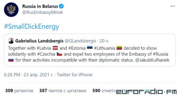 Российское посольство в Беларуси намекнуло главе литовского МИД на маленький член