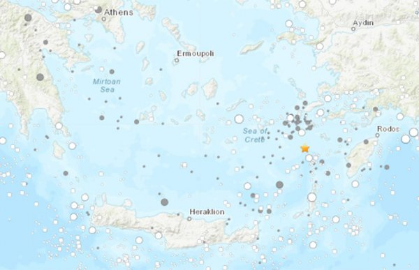 У берегов Греции произошло землетрясение магнитудой 4,2 балла
